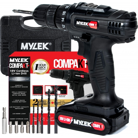 Mylek 18V Cordless 2 Speed LI-ion Drill with 1 Hour Fast Charge